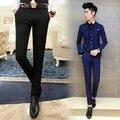 Hot 2016 de Moda de Nova Red Balck Terno Dos Homens Azuis Calças Qualidade Calças Dos Homens de terno de luxo Da Marca Sólida Clássico Slim Fit Roupa Calças