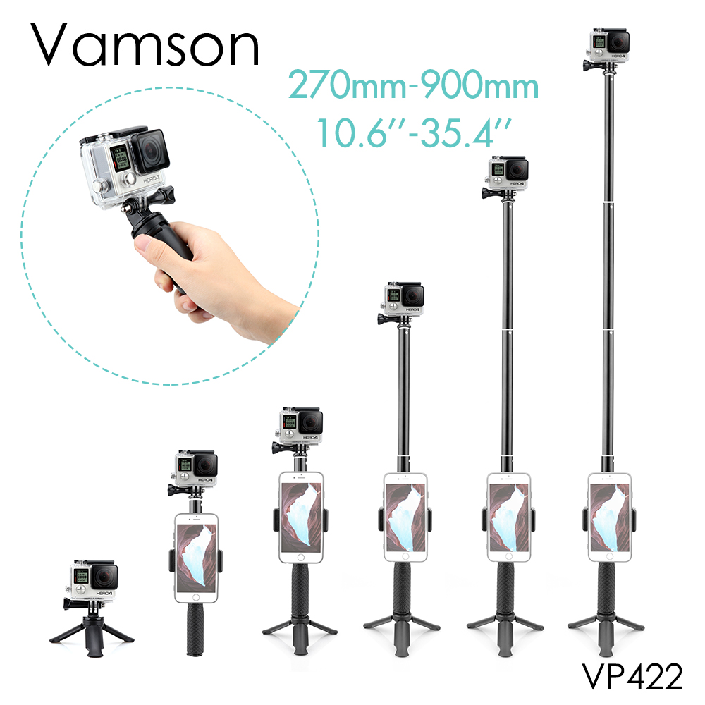 Vamson For Gopro Accessories Tripod Monopod Adjustable Selfie Stick For GoPro Hero 8 7 6 5 For Xiaomi Yi SJCAM For Phone VP422