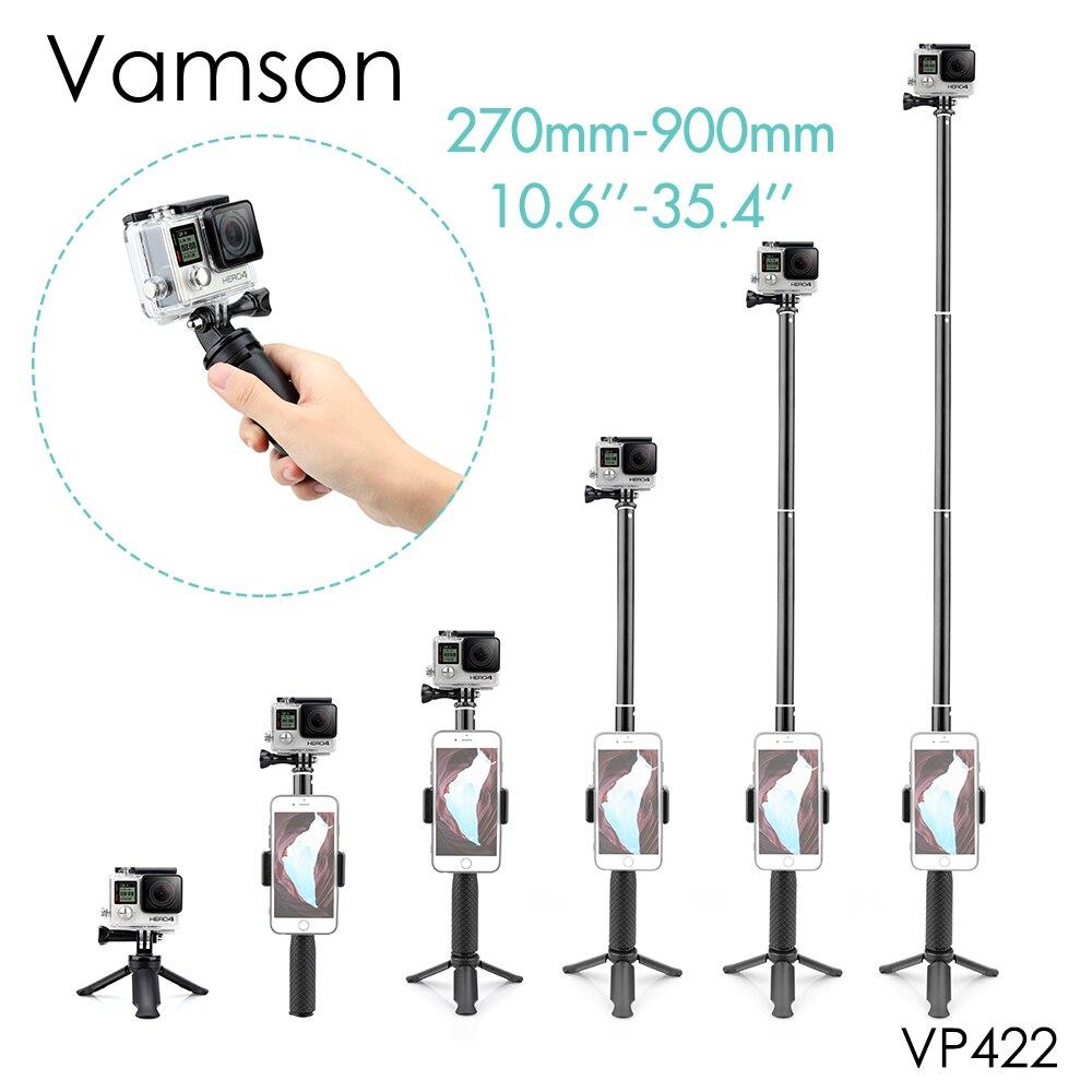 Vamson pour Gopro accessoires trépied monopode réglable Selfie bâton pour GoPro Hero 8 7 6 5 pour Xiaomi Yi SJCAM pour téléphone VP422