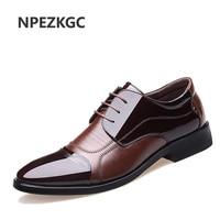 NPEZKGC Men Dress Shoes Genuine Leather Oxford Shoes Lace Up Casual Business Formal Men Shoes Brand Men Wedding Shoes size 38 48