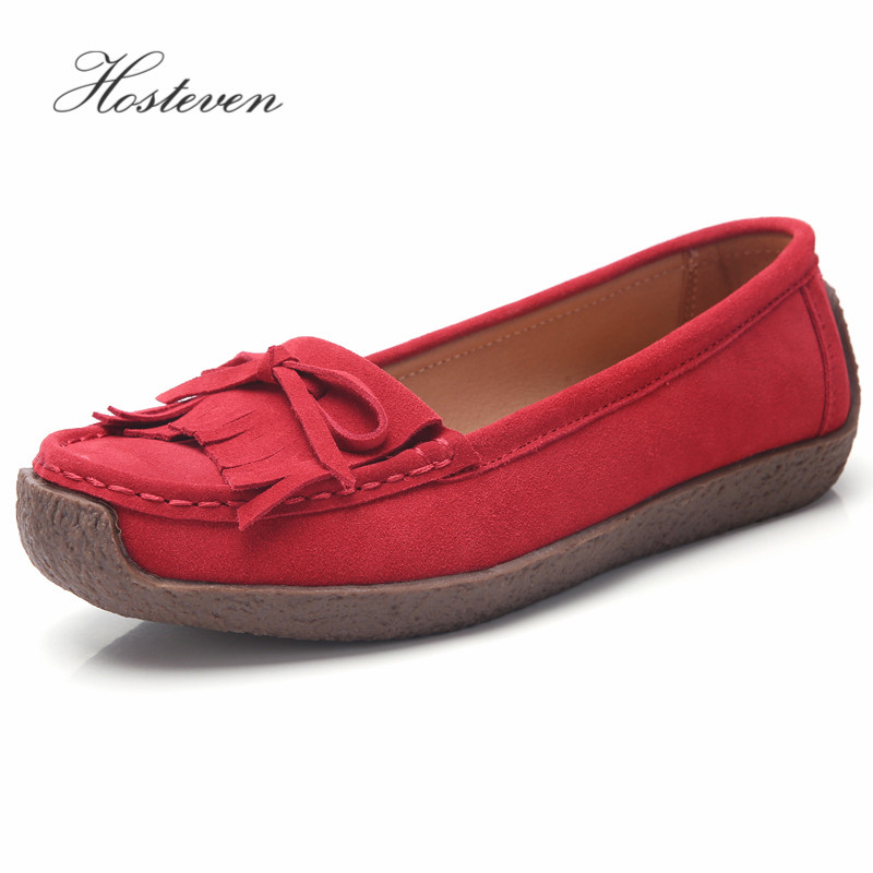 Hosteven Women Shoes Sneaker Flat Moccasins Loafers Oxfords Boat Cow   Suede     Leather   Spring Autumn Female Ladies Shoe