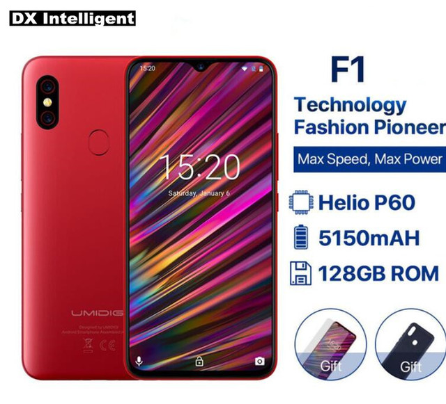 "Free Gift Umidigi F1 6.3"" 19.5:9 Full Screen Android 9.0 SmartPhone Helio P60 Octa-Core 4GB 128GB 16.0MP+8MP NFC 4G Mobile Phone"