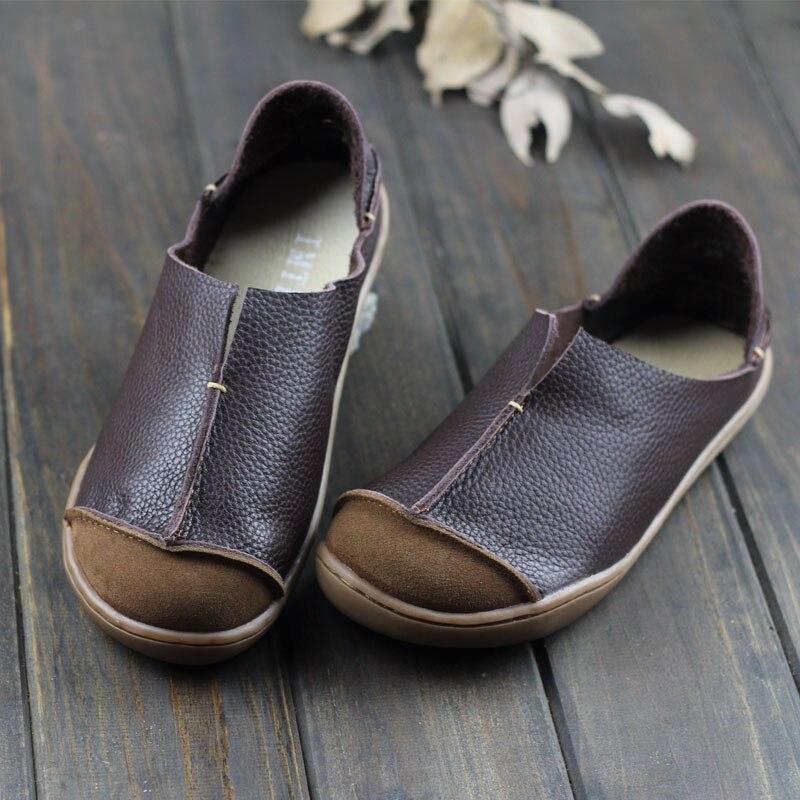 (35-42) Frauen Schuhe Plus Size Echtem Leder Flache Schuhe Casual Slip Auf Loafers Damen Mokassins Mori Mädchen Stil (5188 -1) ZuverläSsige Leistung