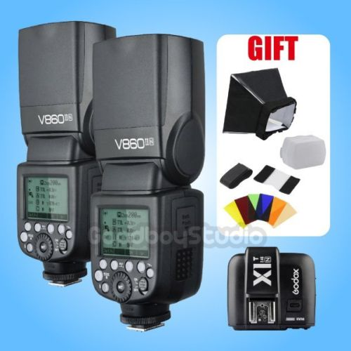 2PCS Godox V860II V860II-N i-TTL 2.4G Li-ion Flash Speedlite + X1T-N Flash Trigger Transmitter for Nikon (FREE GIFT) 2pcs godox v860ii v860ii n gn60 i ttl hss 1 8000s flash speedlite li ion battery x1t n flash transmitter for nikon gift kit