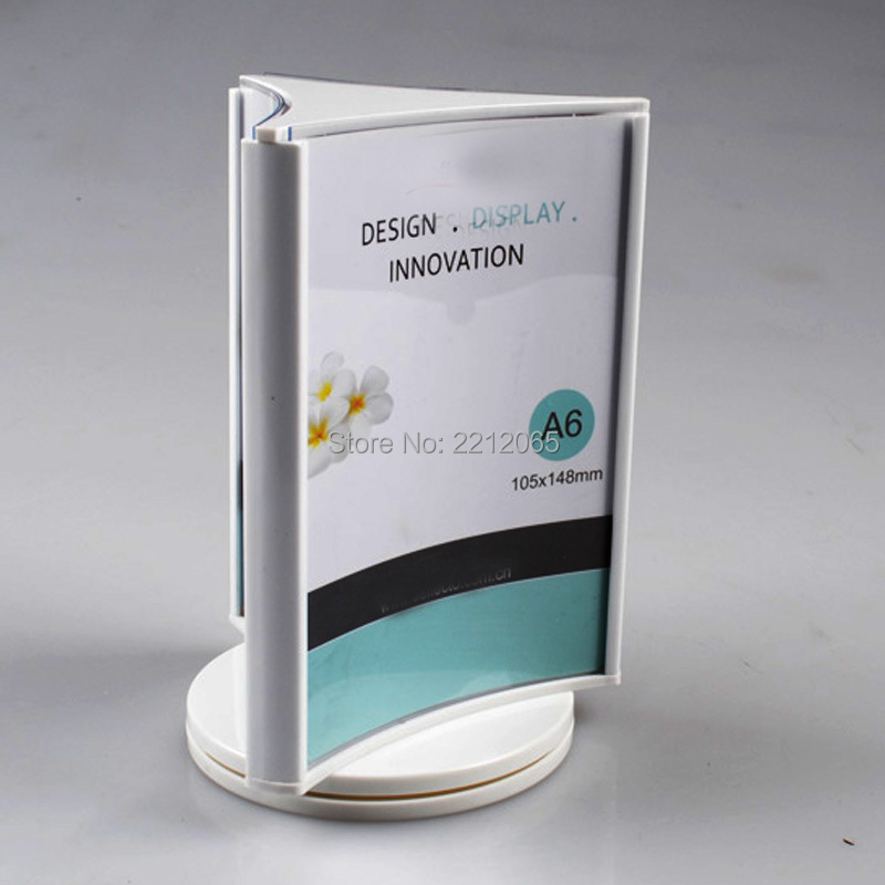 A6 3-Faced Countertop Stand Menu & Sign Holder with Rotating Sign Frame for Pricelist,Menu,Signage,Graphics YRSH-006