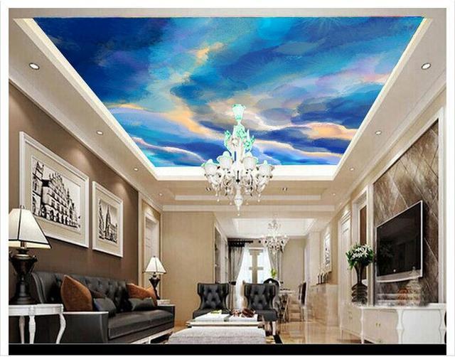 Customized 3d Wallpaper 3d Ceiling Wallpaper Murals Beautiful Blue Sky  Zenith Mural Painting Wall Home Decoration Part 76