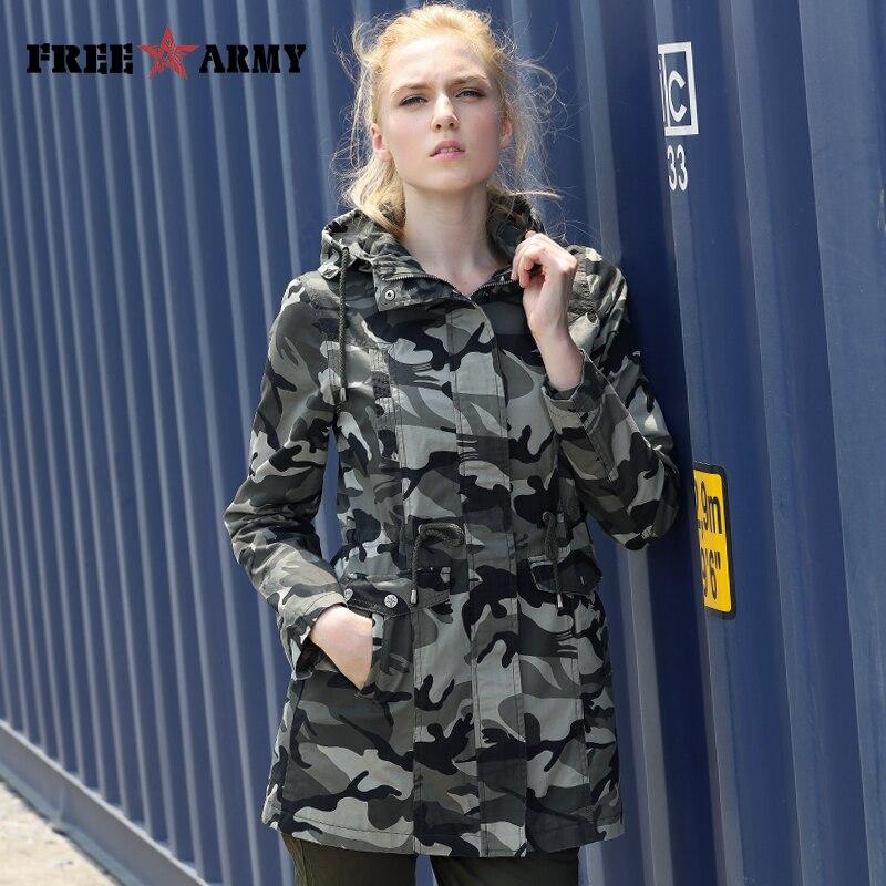 Новая модная Осенняя верхняя одежда камуфляжная куртка женская военные карманы куртка с капюшоном на молнии Тонкая Повседневная Брендовая...
