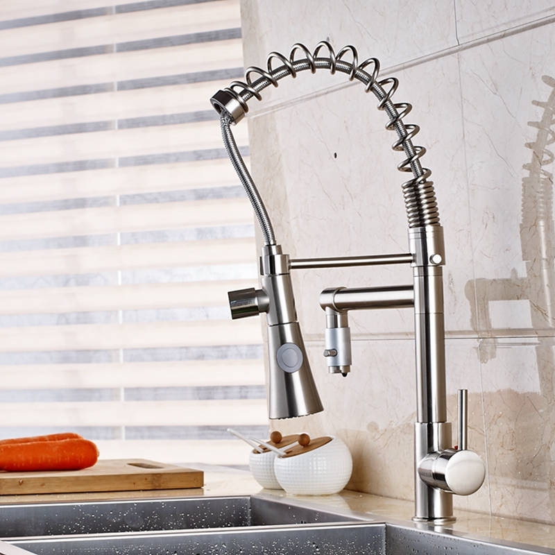 Deck Mount Brushed Nickel Spring Kitchen Faucet Swivel Dual Spouts Sink Mixer