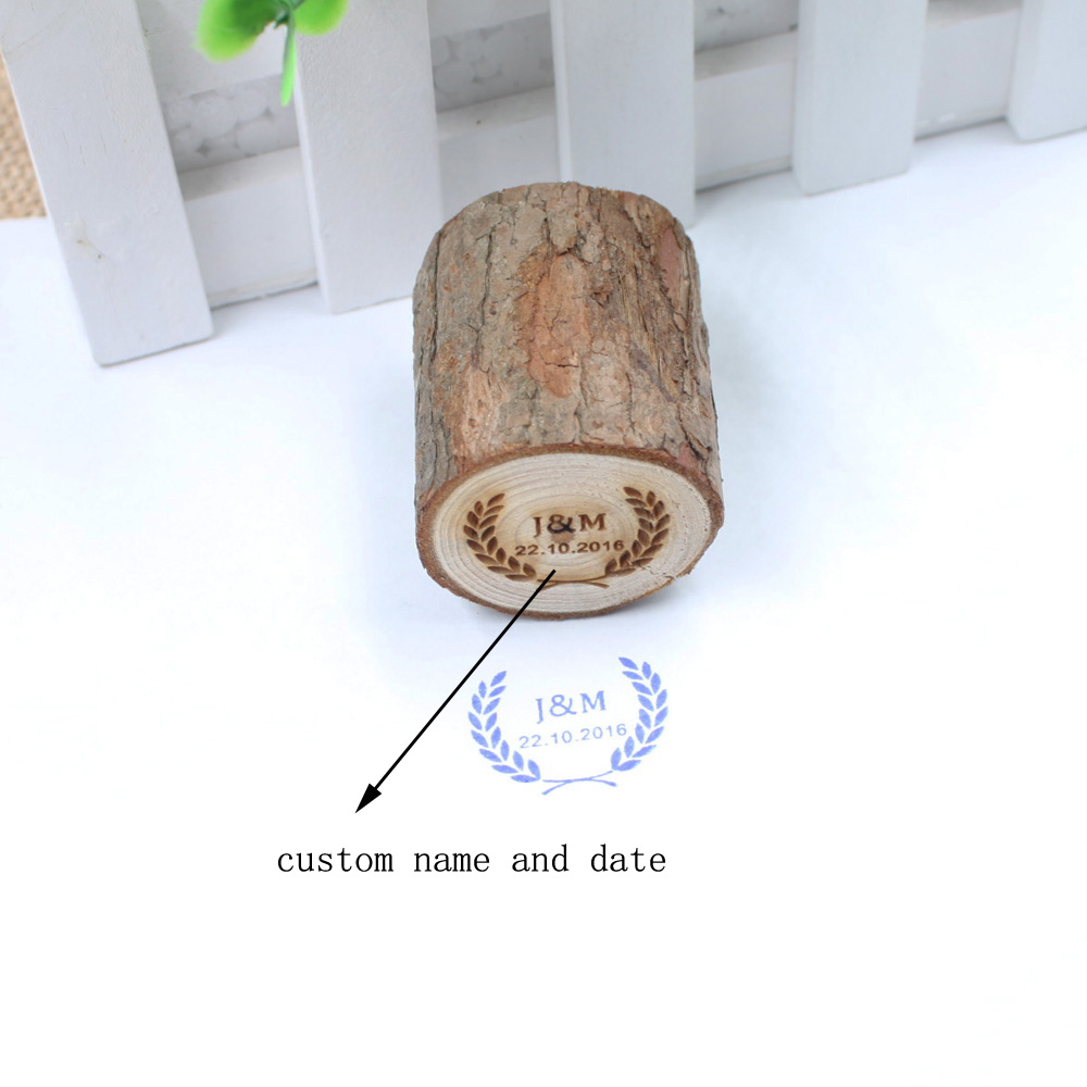 Personalized Rustic Wedding Stamp Custom Wood Rubber