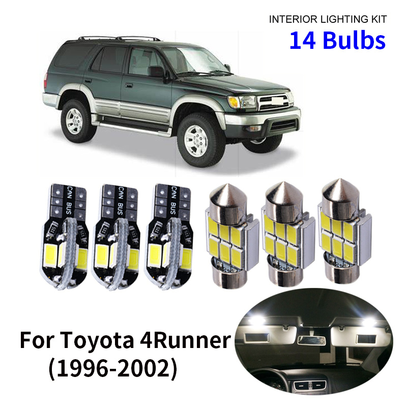 14pcs Car Accessories White Interior LED Light Bulbs Package Kit For 1996-2002 <font><b>Toyota</b></font> <font><b>4Runner</b></font> T10 31MM Map Dome Trunk Lamp image