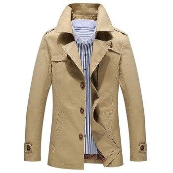 Manteau Homme Nice Fashion Trench Coat Men Jacket Men Cheap Mens Trench Coats Cotton Pop Tideing turn-down Collar Plus Size 5XL