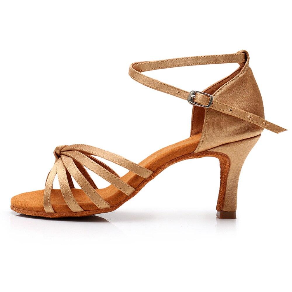 Las nuevas mujeres niñas zapatos de baile latino Tango damas Balck satén rojo 9,5 zapatos de baile para las mujeres 5/ 7 cm talón 8 colores