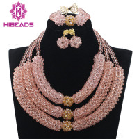 Great 3 Layers Peach Crystal Bib Statement Necklace Set Peach Pink Wedding Party Beads Jewelry New Free Shipping QW988