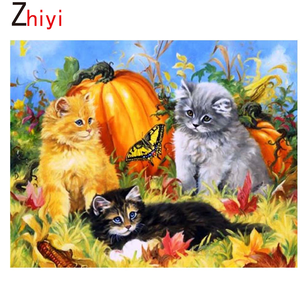 Animals Round Embroidery Painting Diamond Rhinestone Cross Pattern Mosaic  Diamond Sequins Embroidery Cat Water Feature Y319