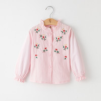Autumn Single Breasted Baby Girls White Blouse Flower Embroidery Cotton Ruffle Collar Girls Shirt School Girl