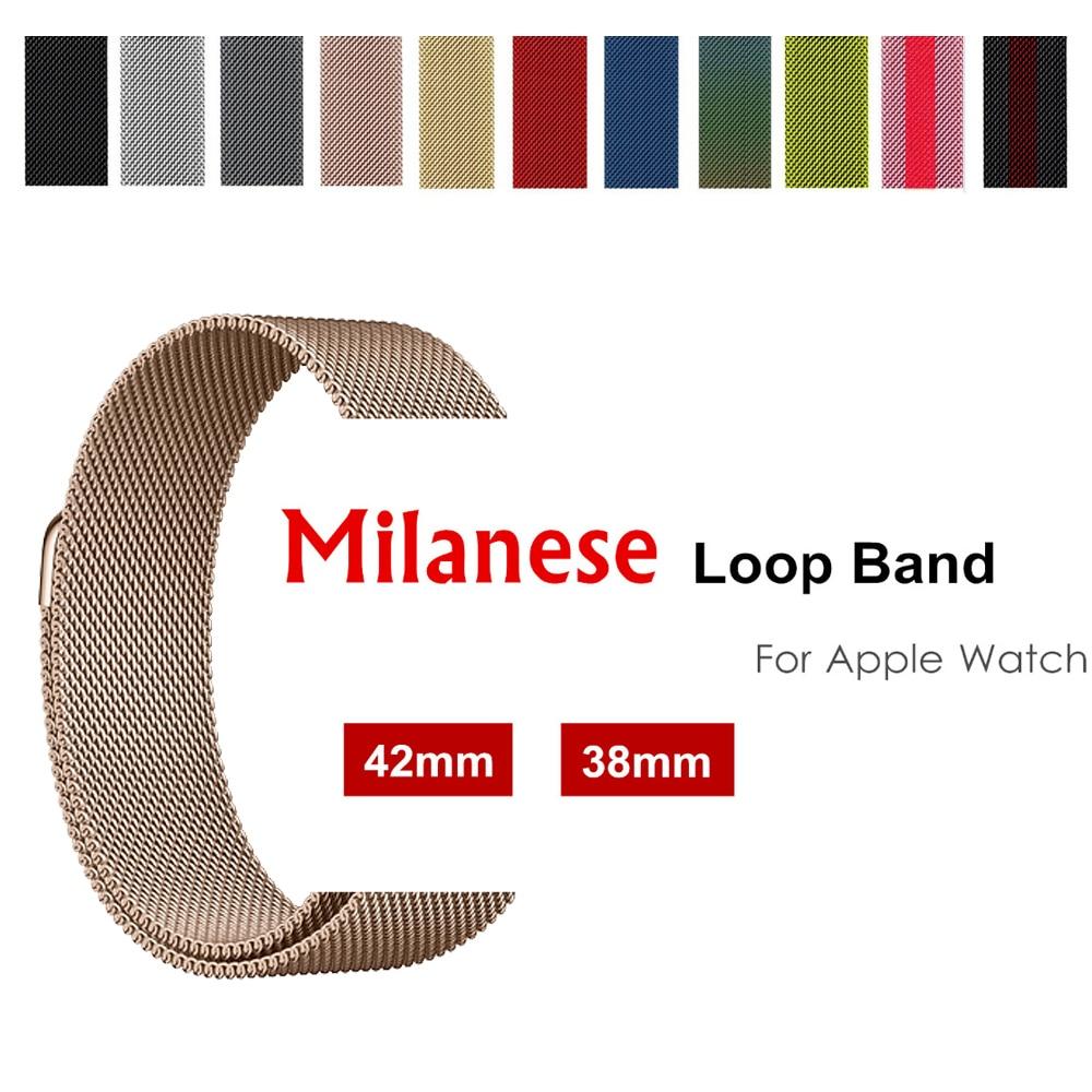 Milanese loop strap per apple watch band 42mm/38/44/40mm In Acciaio Inox Bracciale in metallo cinturino per iwatch 4/3/2/1 Accessori