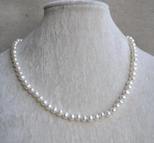 White Pearl Jewelry, 18 Inches 6-7mm Freshwater Pearl Necklace,100% Real Pearls Necklace,Girl's Lasy's Jewelry