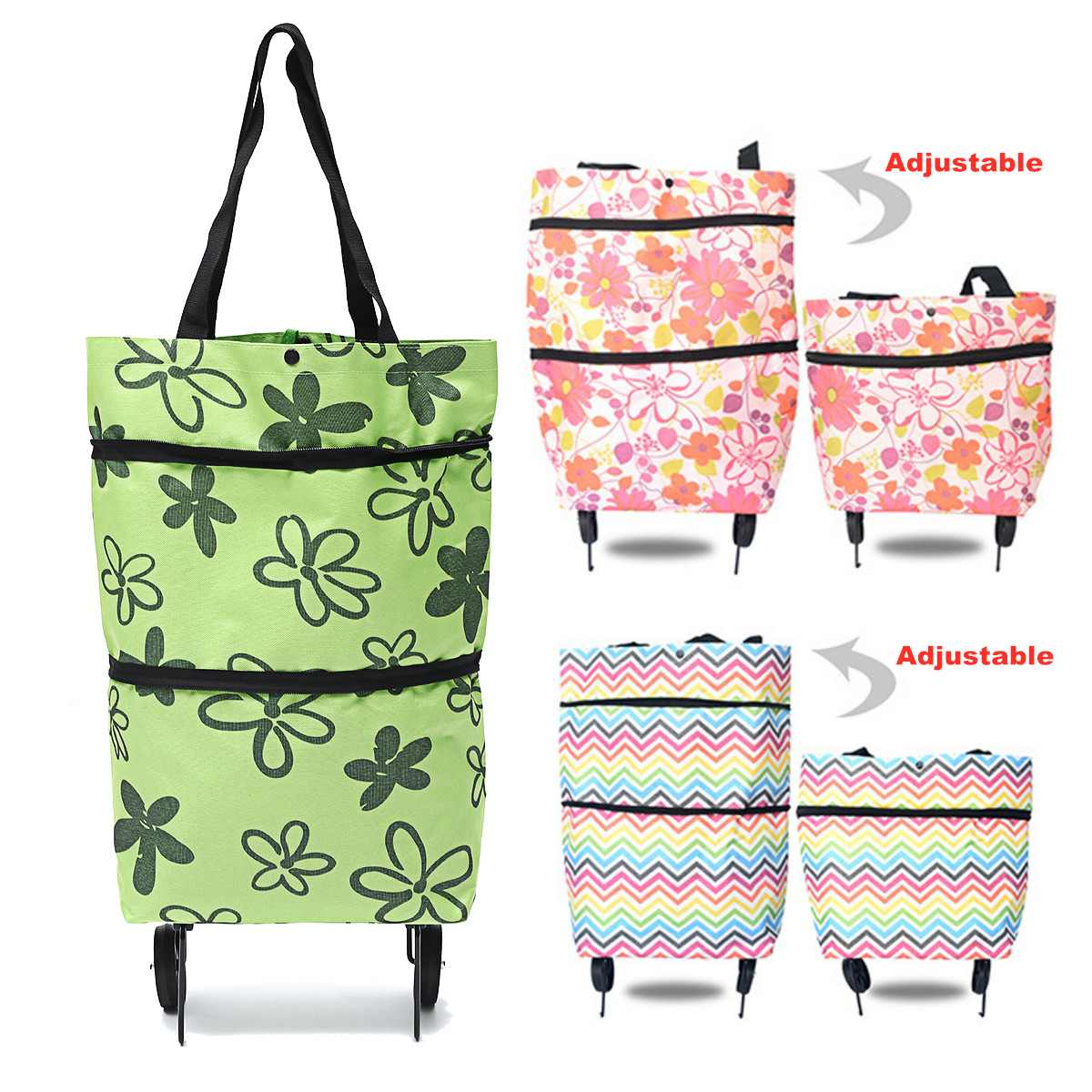 Folding Oxford Cloth Shopping Cart Laundry Grocery Trolley Dolly Handcart Market Portable Tug Pull Shopping Bag With 2 Wheels