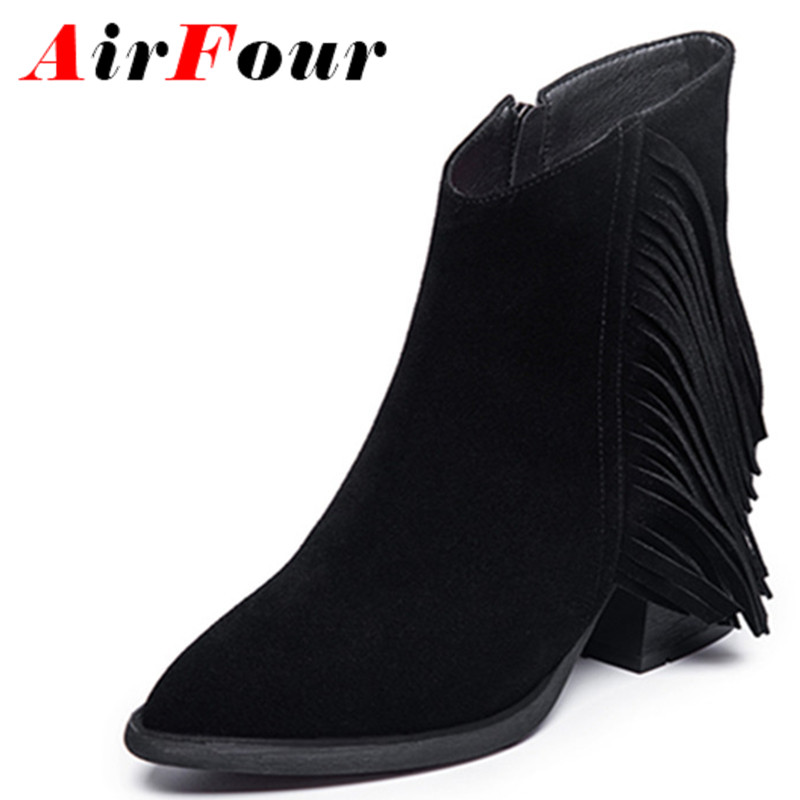ФОТО Airfour Motorcycle Boots Shoes Woman Black Shoes High Heels Platform Winter Ankle Boots for Women Large Size 34-41 Casual Shoes
