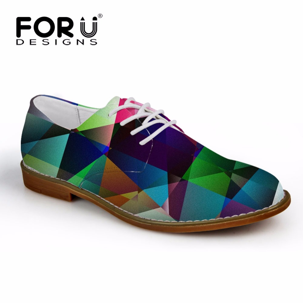 FORUDESIGNS 2018 Autumn Men Casual Oxfords Shoes 3D Geometry Pattern Men s Synthetic Oxfords Shoes High