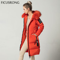 Solid Orange Causal Long Winter Jacket Women Slim Female Wadded Jacket Winter Women Hooded Parkas Warm Fur Coat FICUSRONG