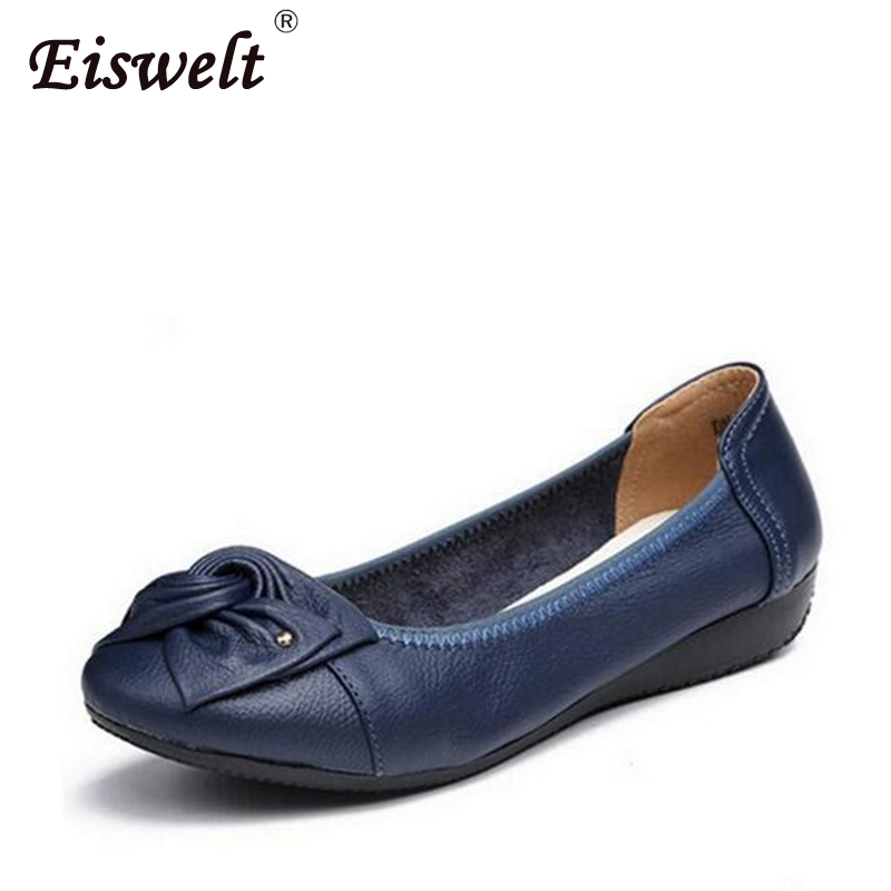 Handmade Genuine Leather Ballet Flat Shoes Women Female Casual Shoes Women Flats Shoes Slip On Leather Car-styling Flat Shoes(China)