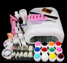 Professional Full Set 12 colors UV Gel Kit Brush Nail Art Set 36W Curing UV Lamp