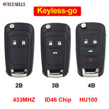 2/3/4 Button New Keyless-go Folding Flip Remote Smart Car Key for Chevrolet 433MHz ID46 Chip HU100 Uncut Balde ( After Market )(China)