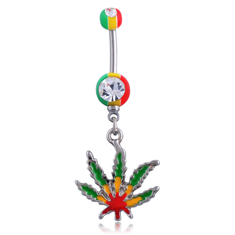 Us 1 06 24 Off Hot Sale New Sexy Rhinestone Ball Green Leaf Medical Stainless Steel Piercing Belly Button Rings Body Piercing Navel Jewelry In Body