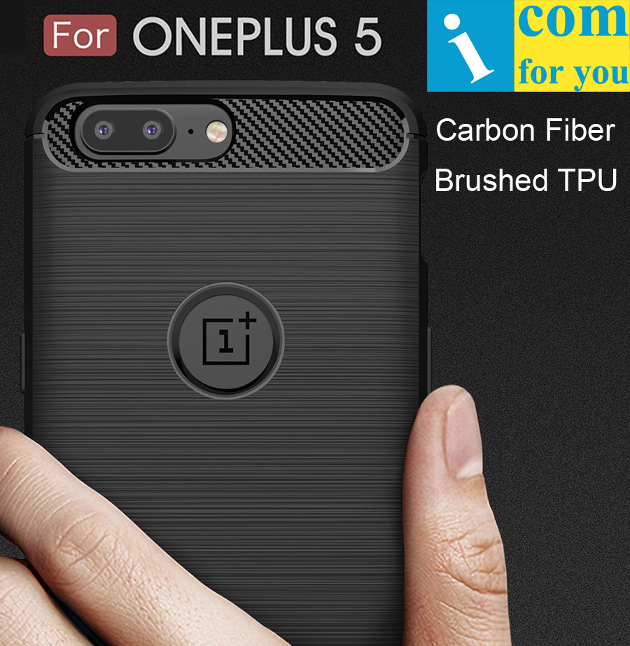 Carbon Fiber Cover Case For Oneplus 5 anti hit Shock proof Matte Frosted Brushed TPU Silicone
