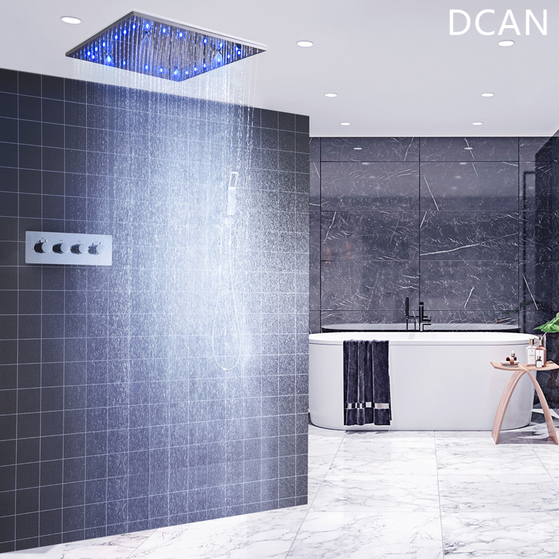 DCAN Wholesale Luxury 20 Inches High Flow Stainless Steel Ceiling Shower Heads System Thermostatic Mixer LED Shower Faucet