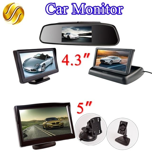 """LCD رصد سيارة 4.3 بوصة/5 بوصة TFT عرض مرآة/سطح المكتب/طوي 4.3 """"/5"""" فيديو PAL/NTSC الرؤية الخلفية احتياطية السيارات وقوف السيارات"""