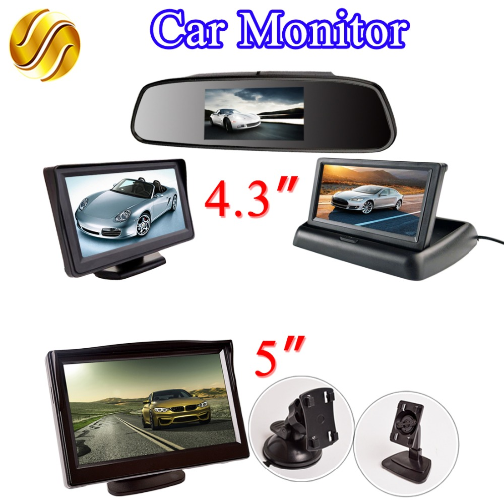 Monitor de coche LCD 4,3 pulgadas/5 pulgadas TFT espejo de pantalla/escritorio/plegable 4,3