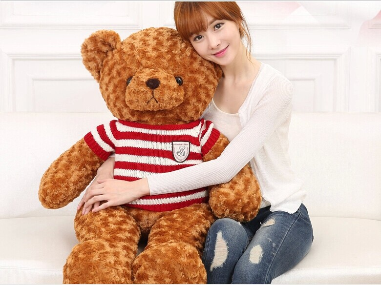 stuffed toy , about 100cm brown teddy bear plush toy red&white stripes sweater bear doll, throw pillow ,birthday gift w3088 stuffed animal largest 200cm light brown teddy bear plush toy soft doll throw pillow gift w1676
