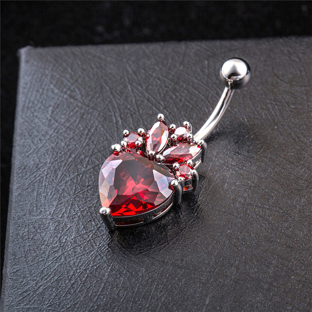 Red Pink Crystal Belly Button Ring