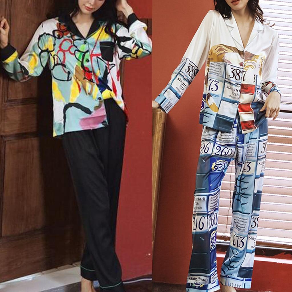 Nouveau mode imprimé femmes soie Baggy Pyjamas maison joli sous-vêtement Sexy Lingerie ensemble