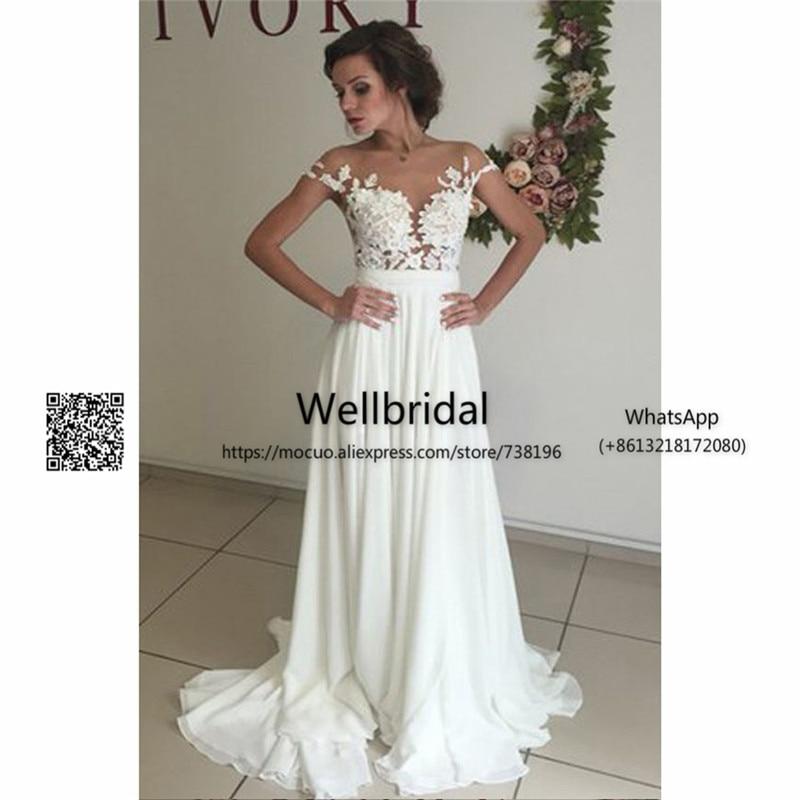 See Though 2017 Summer Beach Wedding Dresses With Appliques Lace Chiffon Cap Sleeves Vestidos De Novia Bridal Dress Wedding Gown