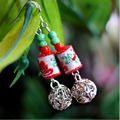 Fashion Tibetan silver Fabric Handmade Ethnic earrings vintage Women jewelry Chinese Style dangle earrings gift