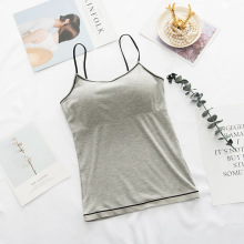 Women Summer Off Shoulder Camisole Slim Sexy Strap Top Female Padded Tank