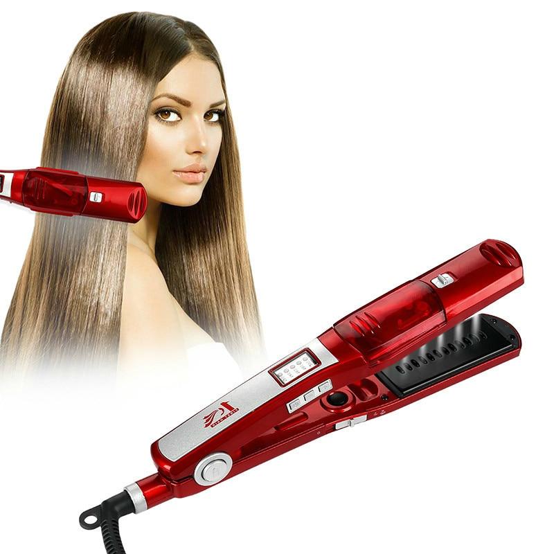 Professional Steam Hair Straightener Brush Comb Flat Iron Ce