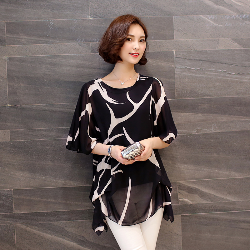US $10 21 13% OFF|2019 Casual Fat MM Summer Baggy Shirt XL 200 Pound Female  Coat Blouse New over Size Short Sleeved Chiffon Shirt 60A 30-in Blouses &