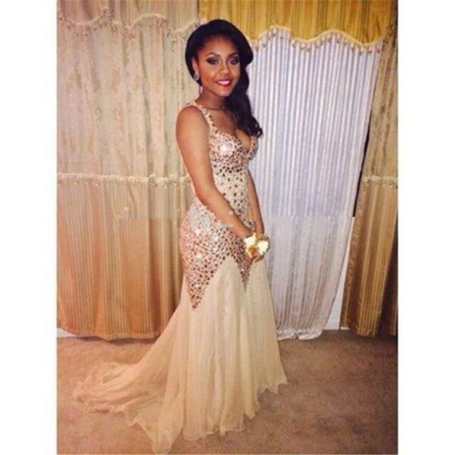 d5800c2bd De moda brillante de diamantes de imitación con cuello en V fiesta vestidos  2019 Sexy pura