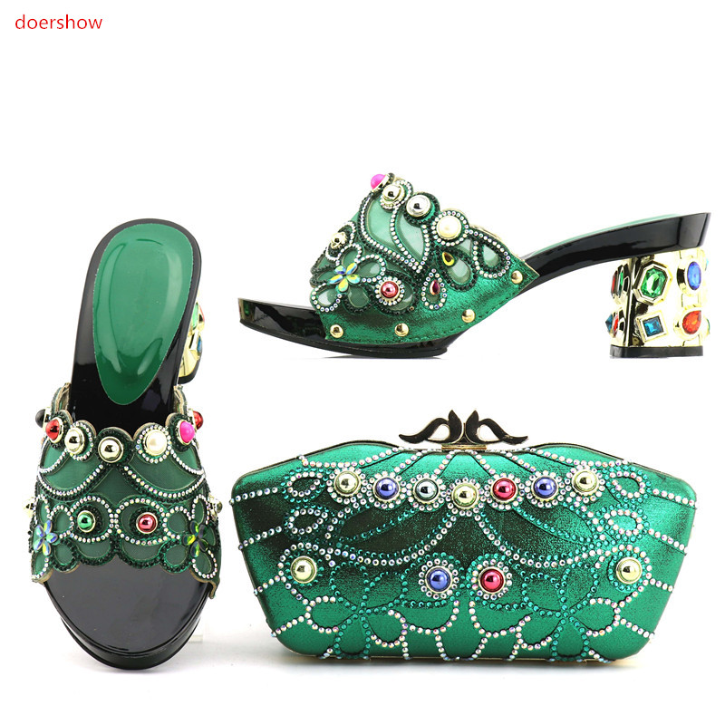 doershow good Looking African Women Matching Italian Shoe and Bag Set Italian Shoe with Matching Bag for Wedding DA1-8 fashion italy design italian matching shoe and bag set african wedding shoe and bag sets women shoe and bag to match tmm1 41