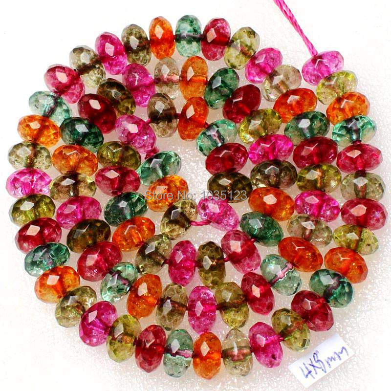 Free Shipping 5x8mm Smooth Mixed Stone Faceted Rondelle Shape Gems Loose Beads Strand 15 DIY Creative Jewellery Making w2002