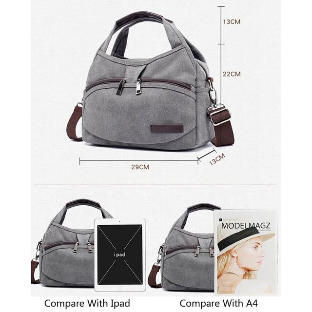 Women's Canvas Handbags Female Hobos Single Shoulder Bags Woman Crossbody Pack Solid Multi-pocket Ladies Totes 4