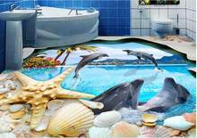 customize 3d flooring Shell Dolphin 3d stereoscopic wallpaper Toilet Bathroom Bedroom wall papers home decor vinyl flooring(China)