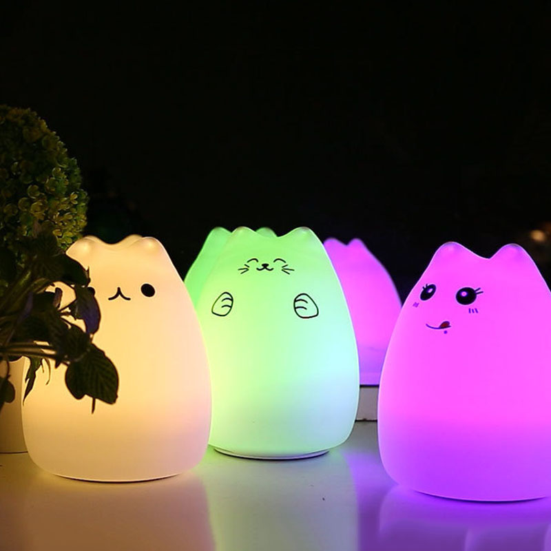 Silicone Touch Sensor LED Night Light For Children Baby Kids Colorful Cat LED USB LED Night Light desk night lights baby room colorful cat silicone led night light rechargeable touch sensor light 2 modes children kids bed lamp