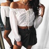 Ebizza Sexy Slash Neck Lace Up Cross Pullover Tops Women Short T Shirts Long Sleeve Tie