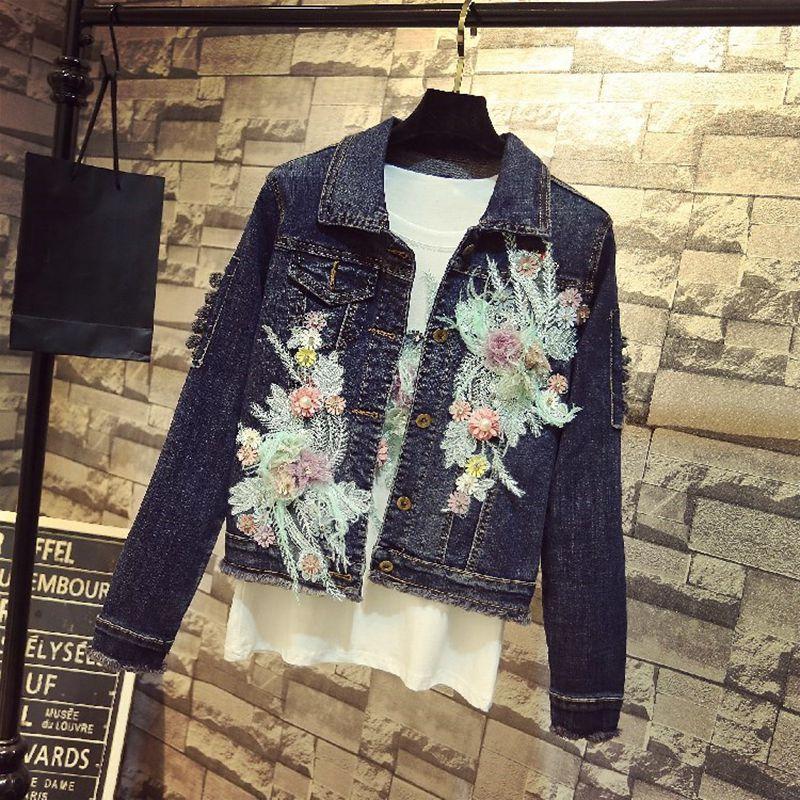 Femmes Plumes 1070 Outwear Veste Y Streetwear De 2018 Fleurs Manteau Jean Broderie Mode Denim Automne wzYxqSp