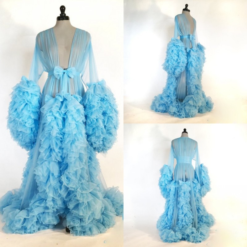 2019 Sexy Night Robe Long Sleeve Tiered Ruffles Party Sleepwear Custom Made Nightgowns Robes